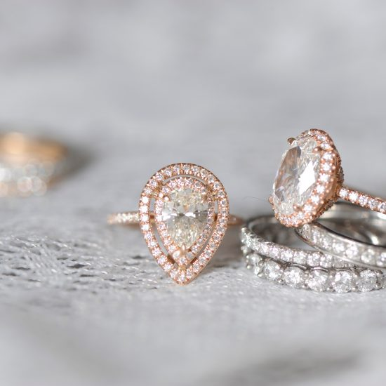 Pear and oval diamond engagement rings