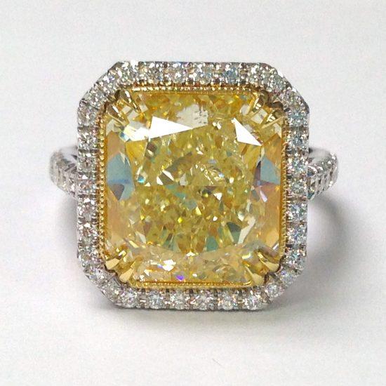 Fancy Yellow Radiant diamond Ring
