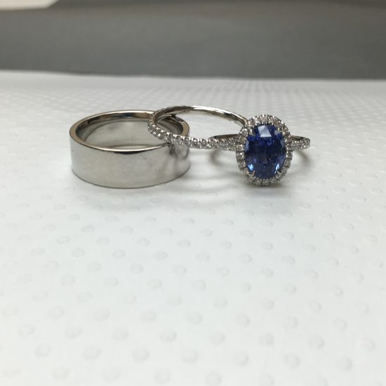sapphire halo engagement ring and wedding rings