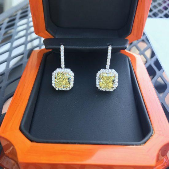 Canary diamond halo dangle earrings