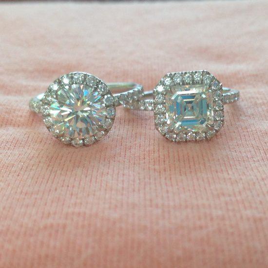 Diamond halo rings