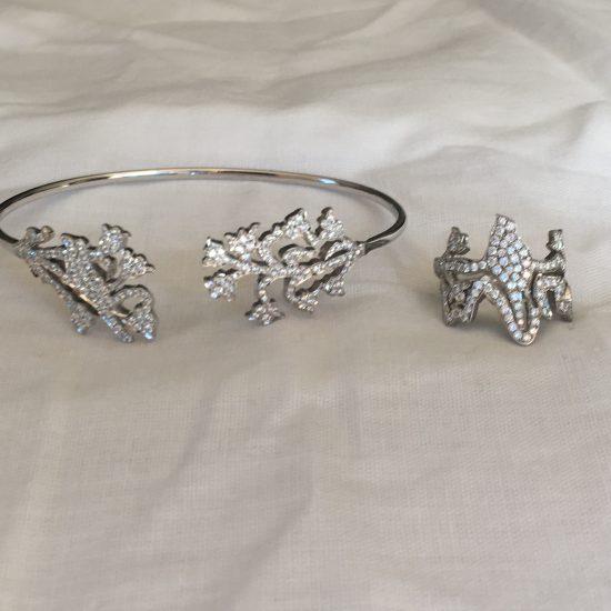 Pave bird ring and bracelet