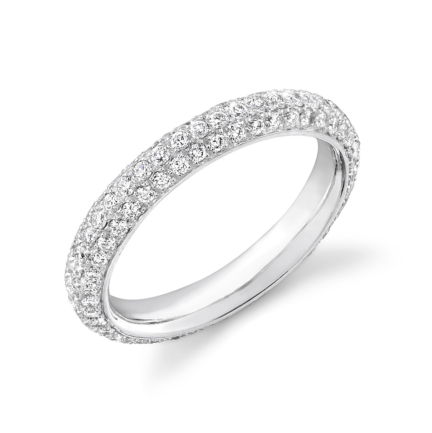 3 Row Pave Diamond Eternity Band