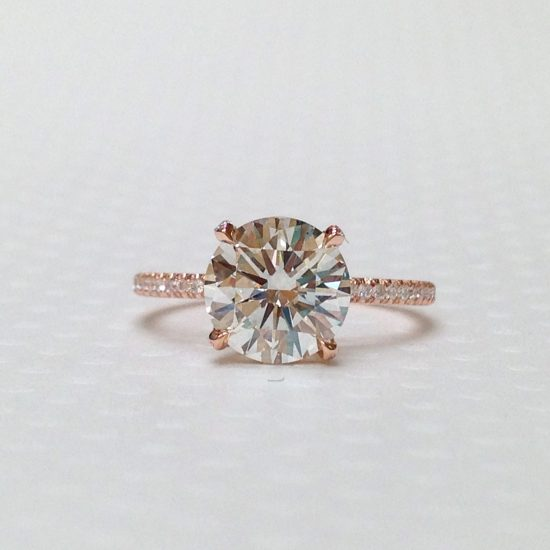 Round diamond solitaire set in rose gold mounting