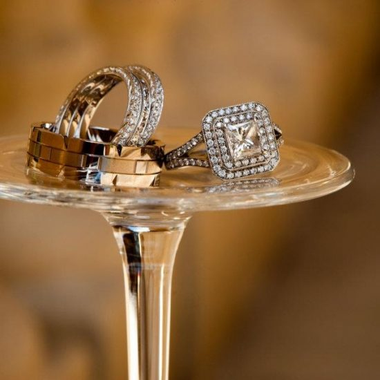 Square diamond ring with halo and diamond wedding bands