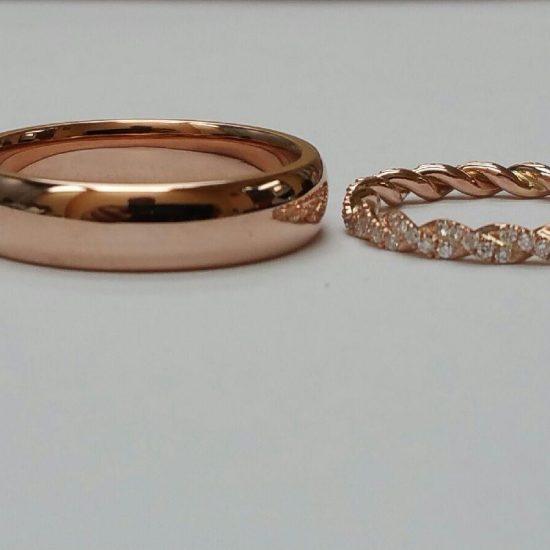 Diamond pave twisted wedding band and gents band