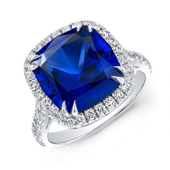 Sapphire and diamond halo engagement