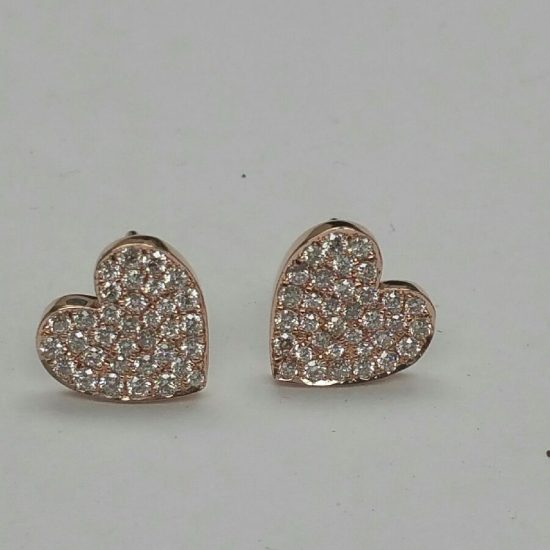 Diamond Pave Heart Earring Studs in Rose Gold